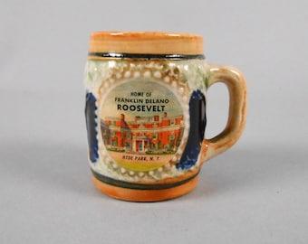 Roosevelt Home Souvenir Miniature Beer Mug Toothpick Holder Hyde Park NY 1950's Barware