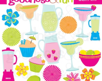Buy 2, Get 1 FREE - Cheers to Summer Clipart - Digital Summer Party Clipart - Instant Download