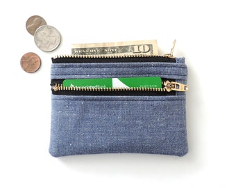 Wallet Pouch Slim Double Zipper Coin Purse Blue Chambray