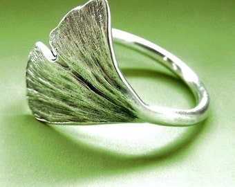 Ginkgo Leaf Ring, Sterling Silver