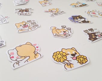 Shiba inu dogs puppies cute kawaii kitsch stickers