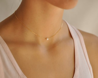 Simple Choker Necklace, Dainty Choker Necklace, Single Pearl gold silver chain, Dainty Pearl Necklace, NS58