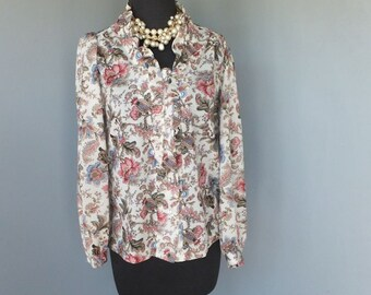Vintage 1970s Blouse, Teddi of California, Floral Ruffle Secretary Blouse, Polyester
