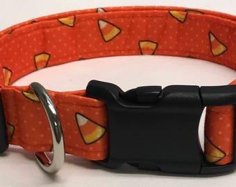 dog collar, orange candy corn, halloween, halloween dog collar, halloween collar, candy corn, candy corn dog collar, candy corn collar
