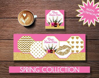 Facebook Timeline Cover Photo, Facebook Profile Photo, Lips, Spring, Floral, Glitter, Gold, Pink, Bundle