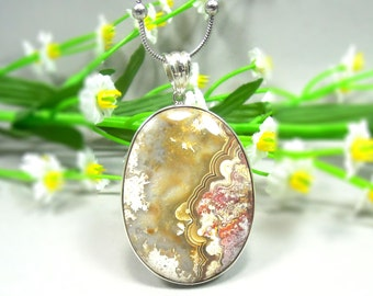 Mexican Crazy Lace Agate Pendant Sterling Silver - Gemstone Pendant, Agate Pendant for Women, Mexican Agate Jewelry, Silver Agate Pendant