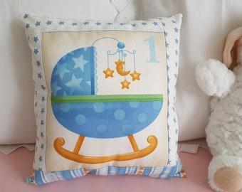 Awakening blue crib pillow