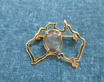 Australian Opal Modernist Design Sterling Gold Vermeil Brooch- Pin
