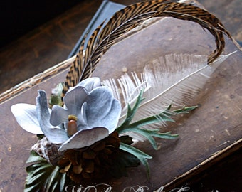 Shoreline Hair Clip Fascinator - Mermaid, Sea Shell, Feather, Steampunk, Tribal, Belly Dance, Orchid, Gray, Nautical, Mariner
