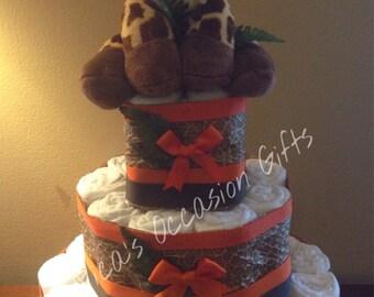 Safari Theme Cloth Diaper Cake