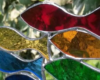 "Beautiful Handmade Stained Glass Suncatcher Shoal of Little Rainbow ""Sprats"" Fish"