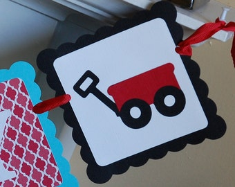 Red Wagon Happy Birthday Banner, Little Red Wagon Birthday, Red Wagon Party,