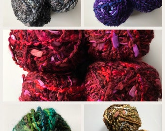 ROSARIO BOUCLE yarn - Multi GrayBlack, Neutral, Red, Purple, Green by Sensations - Discontinued -