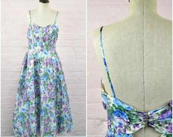 1980s blue green purple floral prom dress · drop waist elegant cocktail dress · floor length flower power dress · spaghetti strap gown · sm