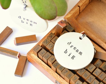 hanging words ornament: dream big, inspiring gift, custom ornament available