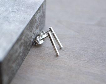 The Linear Studs >> Bar Studs, Silver Bar Earrings, Sterling Silver Bar Stud Earrings, Geometric Studs, Silver Studs, Minimalist Studs, Mini