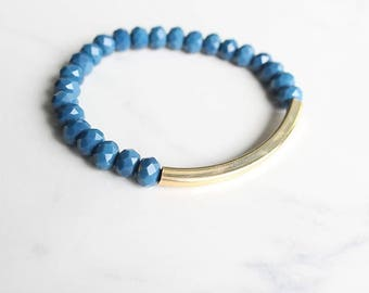 Crystal beaded bracelet, gold bar charm, blue and gold, stretchy bracelet, stackable bracelet, layering bracelet, stackabke jewelry, gift