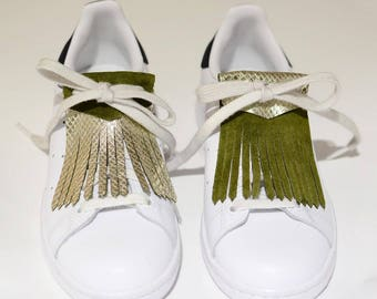 Reversible gold/khaki leather fringe