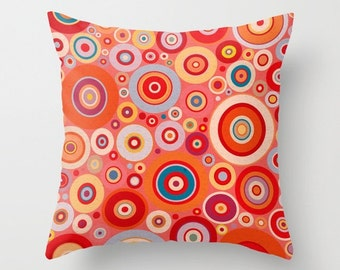 Red, orange, yellow and blue fun circles Throw Pillow case / cover for baby room, nursery, playroom.