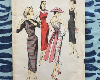 1950's Advance Sewing Pattern 8134 Misses Sleeveless Scoop Neck Princess Dress Empire Waist  with Bow Back Size 16 uncut- 1950s pattern