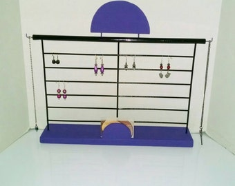Purple and Black Wooden Jewelry Organizer/Business Card Holder//Handmade//Large//Jewelry//Seller Supply//Gift//Repurposed//Upcycled // Metal
