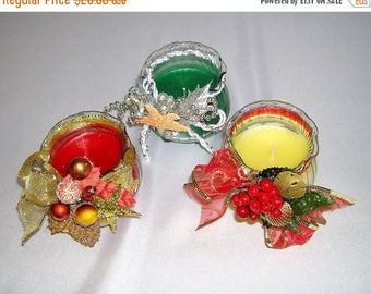 On Sale Christmas Candle Set of 3 Jars, Red, Green and Pale Yellow