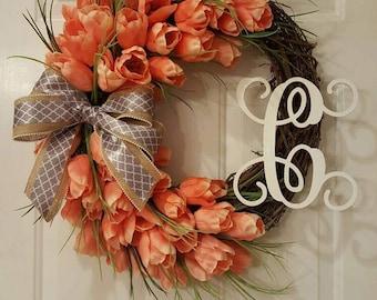 Tulip monogram wreath