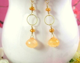 Peach chalcedony gold dangle earrings, Light peach drop earrings, dainty peach circle earrings, gift for mom, gift for wife, gift for her