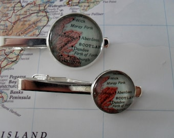 ABERDEEN MAP  Tie Bar / Scotland Tie Clip / Groomsmen Gift / Gift for Him / custom map tie bar  / Tie Clip / Tie Clasp / Tie Slide /gift box