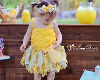 Fabric Tutu, LEMONADE STAND, Shabby Chic Tutu, Baby Tutu, Photo Prop Tutu, lemonadeTutu, Birthday Tutu, yellow tutu, lemonade birthday tutu