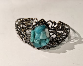 Amazonite antique bronze cuff bracelet
