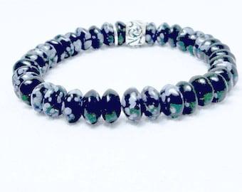 Snowflake Obsidian, Natural Bracelet, Gemstone Jewelry, Black and White, Black Bracelet, Yoga Boho