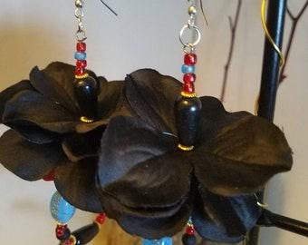 """Ocean blue , bold red and blsck flower  earrings """"Monica"""""""