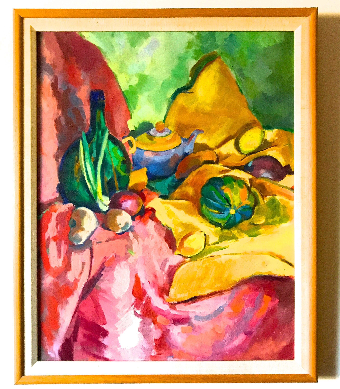 Large Original Painting. Large Framed Still Life Gourd Squash