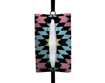 Auto Sneeze - Aztec - Visor Tissue Case/Cozy - Car Accessory Automobile - Light Pale Aqua Pink Black Celery Tribal Indian