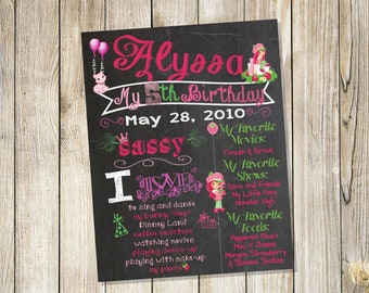 Custom Personalized Birthday Chalkboard Sign Poster! Any age and information! Choose your size! Printed & shipped to you!