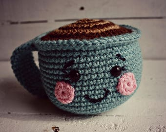 Crochet Coffee Mug, Coffee Mug, Coffee Lover Gift, Coffee Gift, Birthday Gift, Crochet Toys, Crochet Food, Pretend Play, Play Food,