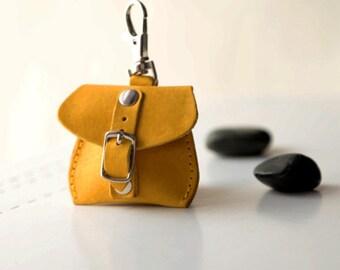 Keychain, keyring key chain, tiny opened bag. Leather keychain, leather keyfob. For her. For him.