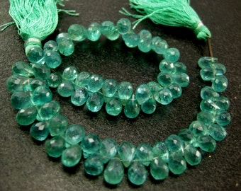 Full 8 inches - Caribbean Waters Natural Apatite Faceted Drop Briolettes Size 7x4 to 8x5mm approx.
