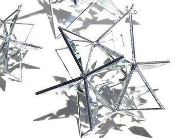 You Pick Any Size - 3D Stained Glass Moravian Star - Geometric Christmas Holiday Decoration Clear Suncatcher Prisms Home Decor