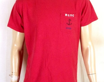 vtg 90s rare Polo Ralph Lauren RLYC 1993 Pocket T-Shirt Anchor Sailing sz M