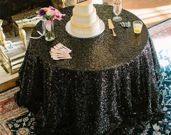 SALE!! Black sequin tablecloth, table runner, or table overlay. Wedding tablecloth, glitz, gatsby themed, glam