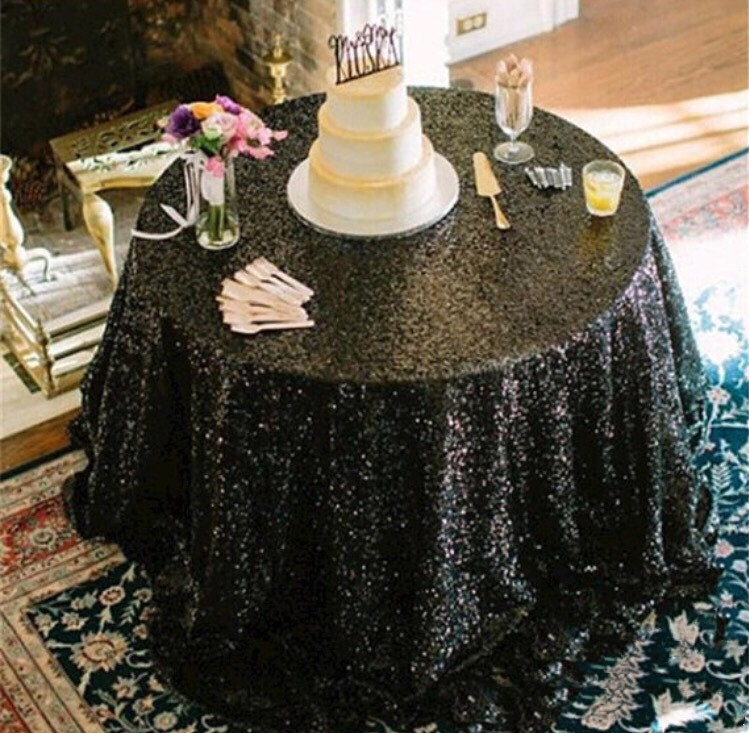 Sale black sequin tablecloth table runner or table zoom junglespirit Images