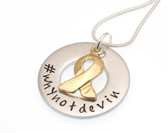 Devin Suau Fundraiser   #whynotdevin   DIPG Awareness Necklace   Hand Stamped Necklace   Fundraiser Jewelry   Awareness Jewelry