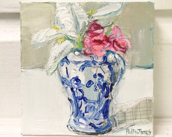 First Blooms original mixed media acrylic still life painting by Polly Jones