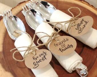 Plastic Utensil Kit, Elegant Silverware Place Setting, Wedding Rehearsal, Large Linen-like Napkin, Plastic Silverware, Rustic Wedding Decor