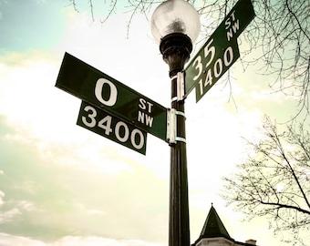 "Washington DC, Georgetown, University, Photography, Fine Art Print, Street Sign, O Street, Wall Decor, Urban Wall Art - ""O and 35"""