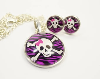 Set jewelry Skull pink