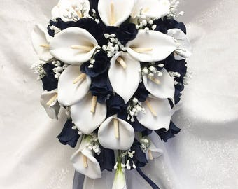 Navy Blue & White Wedding Set Cascade Bridal Bouquet ~ Gorgeous Quality Real Touch Roses Calla Lilies Silk Wedding Flowers