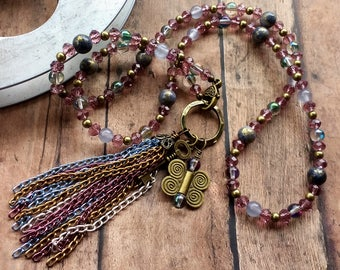 Gypsy Tassel Beaded Necklace with Butterfly and Key Charm